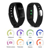 AC493. OLED Activity Tracker Wristband Bracelet Bluetooth Pedometer Fitness - Black