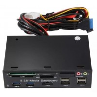 AC748. Dual USB 3.0 2.0 5.25inch Media Dashboard Front Panel Card Reader
