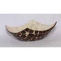 B003. Shell Craft Bowl Mangkok Kotak Dekorasi Hiasan Pajangan Bahan Dasar Kerang - Putih Mutiara Coklat