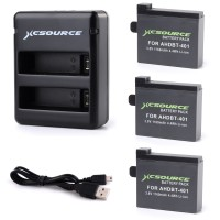 BC423. Charger + 3 Baterai, Charger & 3 1160mAh AHDBT-401 Battery For Gopro Hero 4