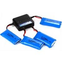BC513. Quad Charger + 4pcs Batteries/Baterai For Hubsan H107D