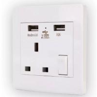 BI080. Stop Kontak, Colokan Listrik, Dual USB Charge Outlets Wall Plug Sockets White Single Socket Connection 2100mA