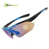 CS012. Kacamata Sepeda, Mancing. RockBros Polarized Cycling Sports Sunglasses With 5 Pairs Of Lenses (Blue)