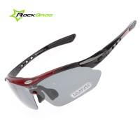 CS013. RockBros Cycling Sunglasses Outdoor Sports Glasses Polarized 100% UVA UVB, Warna Hitam-Merah Marun