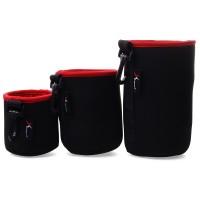 DC505.Tempat Untuk Lensa Kamera Tahan Air, 3pcs Soft Neoprene DSLR Lens Pouch Waterproof Bag Case Universal S - M - L - Hitam