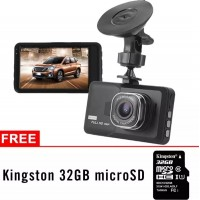 "MA884.Dash Cam Dashboard 3.0"" HD 1080P Kamera Mobil W/ 32GB Micro SD Card"
