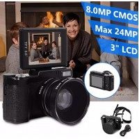 "LF748. Amkov 24MP Digital Camera FHD 1080P Video 3"" LCD Camcorder With Wide Angle Lens"