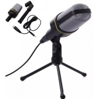 TH022. Microphone 3.5mm Mic Condenser Sound Recording Stand+Cable For Laptop PC Skype